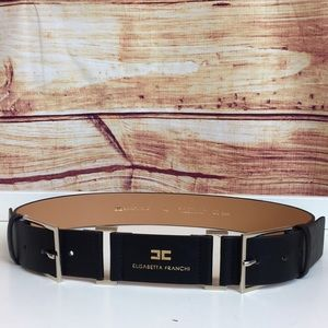 Elisabetta Franchi Logo Black Faux Leather Belt